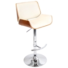 Santi Contemporary Bar Stool - Walnut Wood, Cream