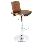 Vittorio Adjustable Height Bar Stool - Walnut Finish, Brown Seat