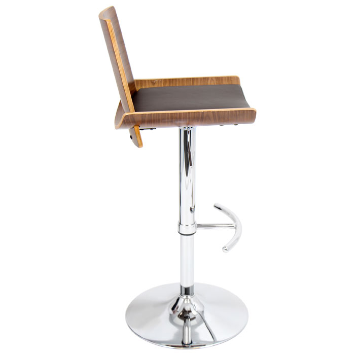 Vittorio Adjustable Height Bar Stool - Walnut Finish, Brown Seat - LMS-BS-JY-VIT-WL-BN