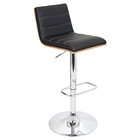 Vasari Bar Stool - Adjustable Height, Walnut Finished Wood Frame
