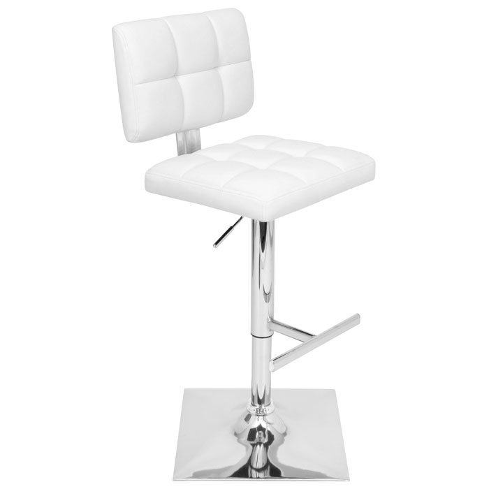 Glamour Swivel Bar Stool - Adjustable Height, Tufted, White