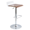 Swerve Adjustable Barstool - Clear, Walnut