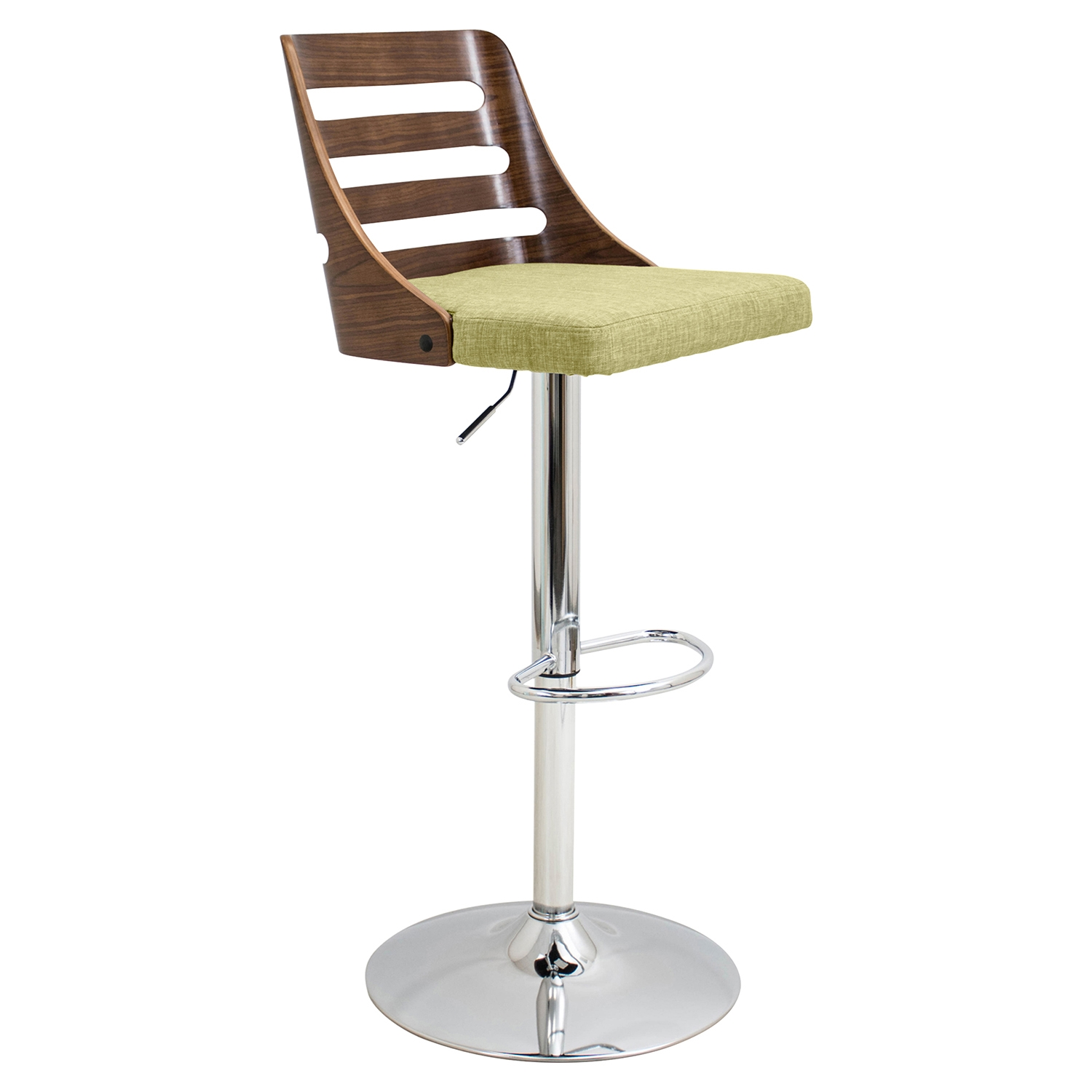 Trevi Height Adjustable Barstool - Swivel, Walnut, Green