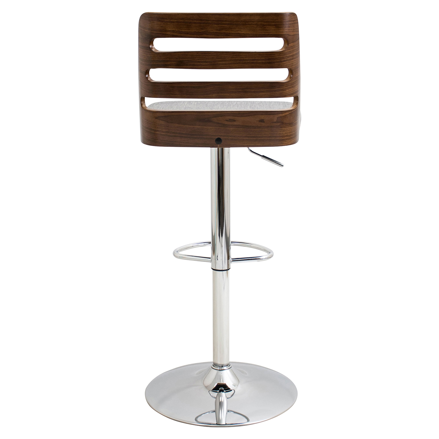 Trevi Height Adjustable Barstool - Swivel, Walnut, Blue - LMS-BS-TRV-WL-GY