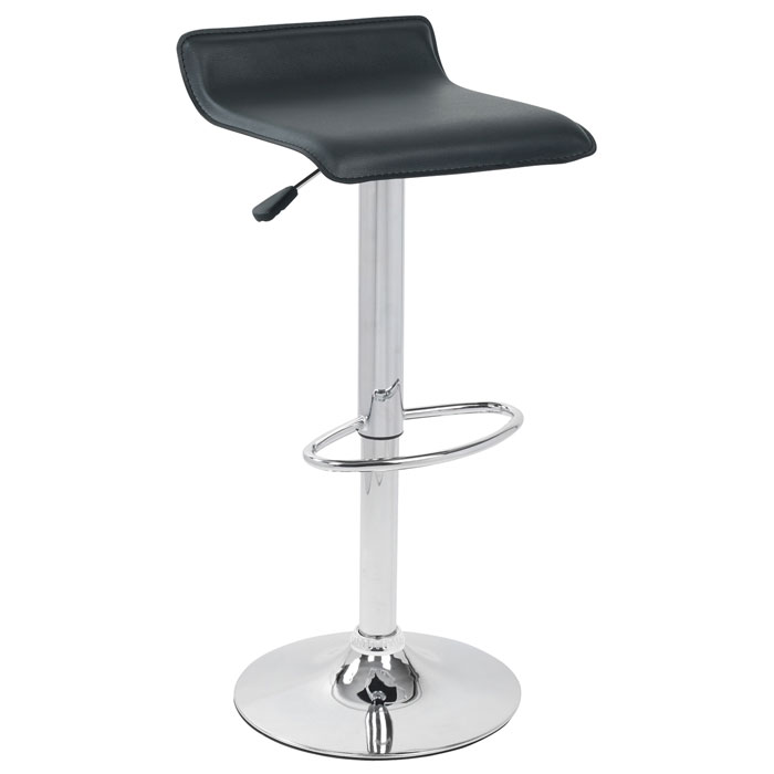Ale Adjustable Height Bar Stool - Black Seat