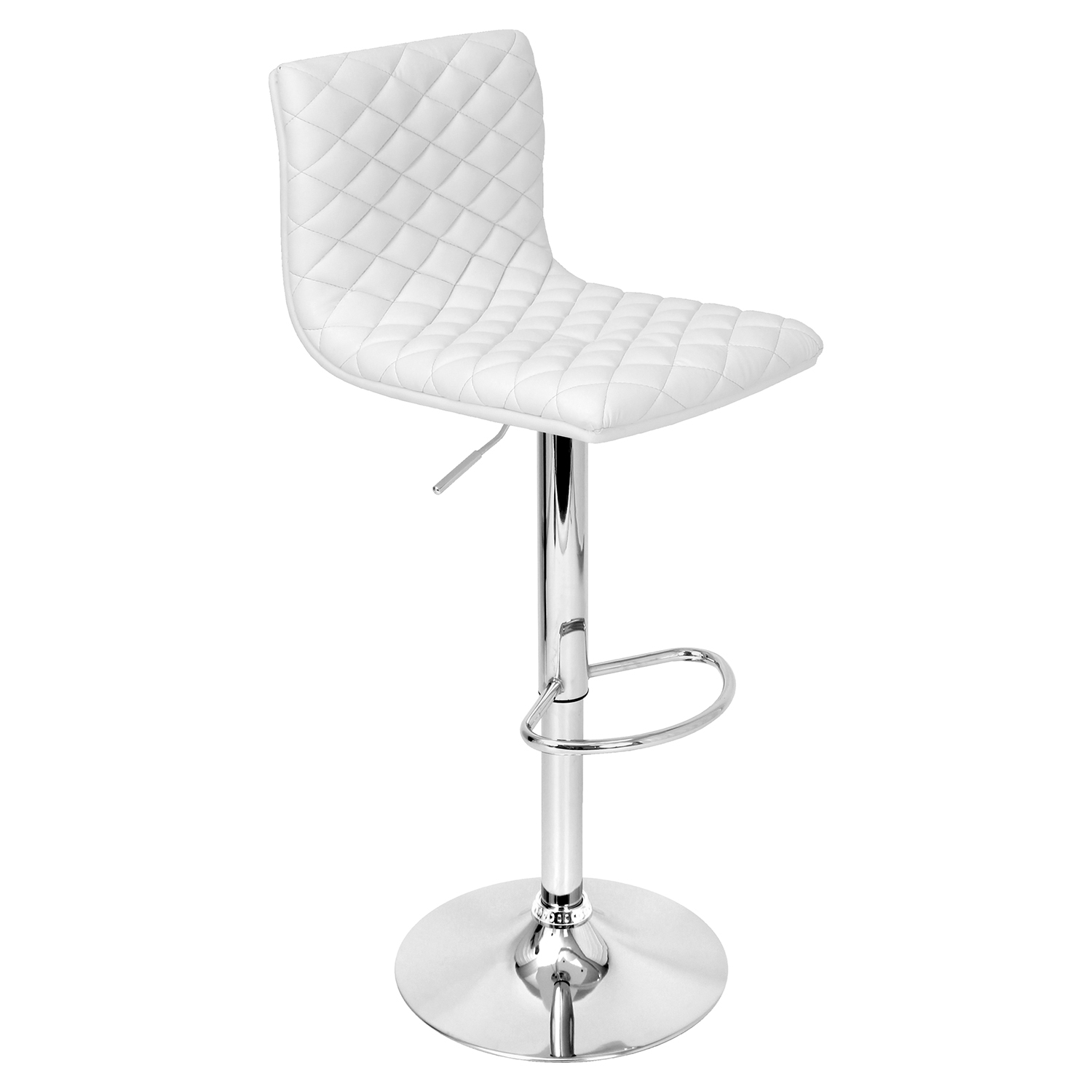 Caviar Height Adjustable Barstool - Swivel, White