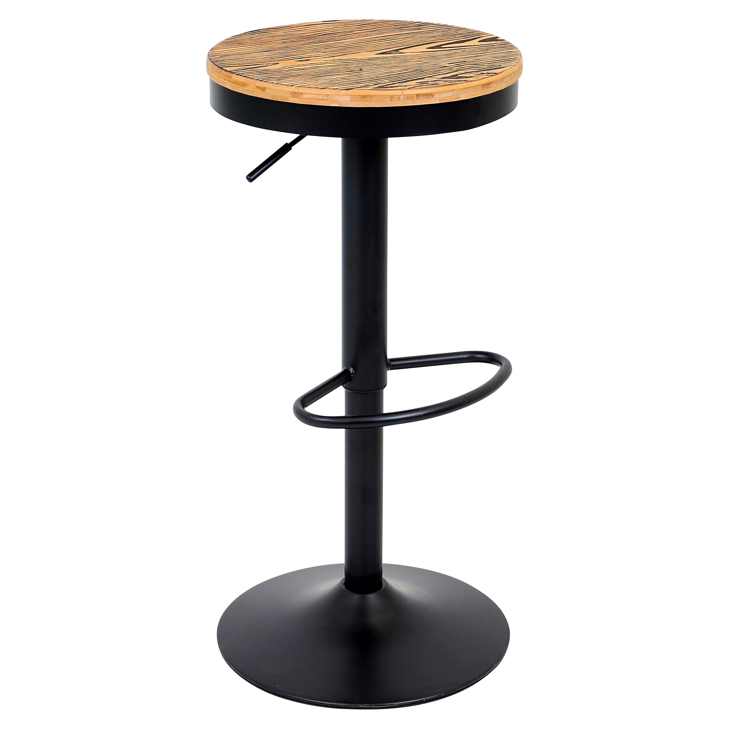 Dakota Height Adjustable Barstool - Swivel, Black
