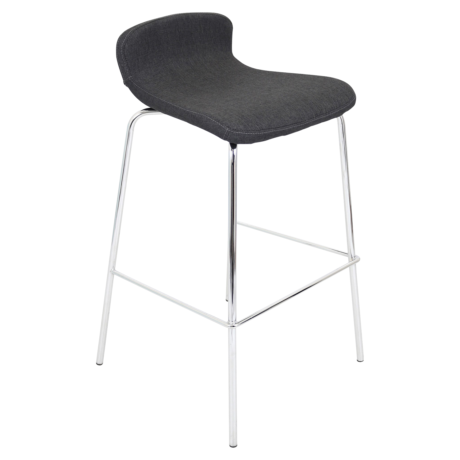 Fabric Stacker Stackable Barstool - Charcoal (Set of 3)