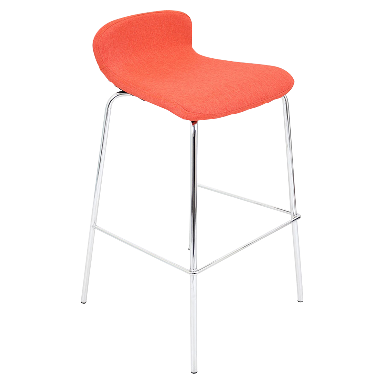 Fabric Stacker Stackable Barstool - Orange (Set of 3) - LMS-BS-TW-FSTK-OR3