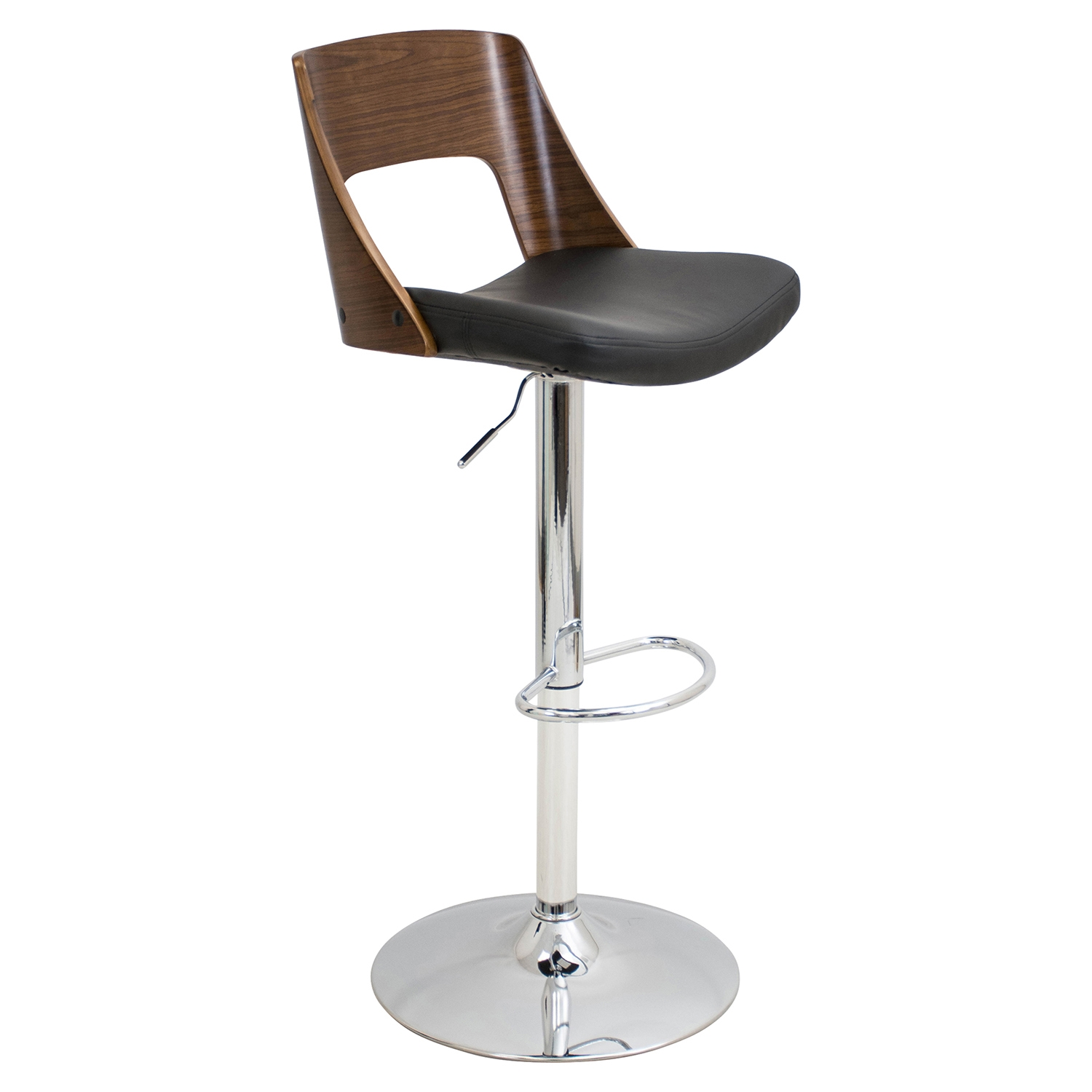 Valencia Height Adjustable Barstool - Swivel, Walnut, Black