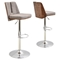 Varzi Height Adjustable Barstool - Swivel, Walnut, Taupe - LMS-BS-VRZI-WL-TP