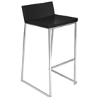 Zenn Black Bar Stool with Sleigh Legs