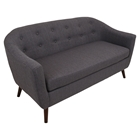 Rockwell Upholstery Sofa - Button Tufted, Charcoal Gray