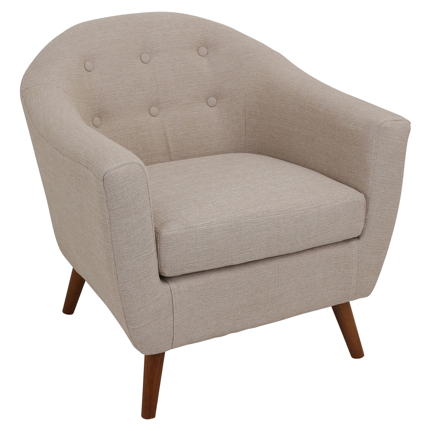 Rockwell Upholstery Armchair - Button Tufted, Beige