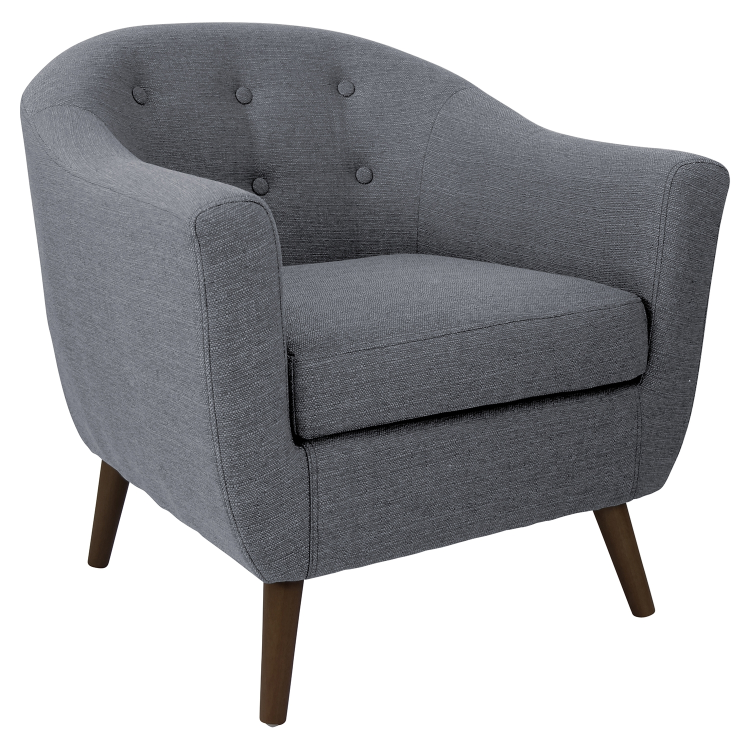 Rockwell Upholstery Armchair - Button Tufted, Gray