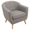 Rockwell Upholstery Armchair - Button Tufted, Light Gray