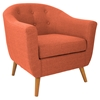 Rockwell Upholstery Armchair - Button Tufted, Orange