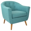 Rockwell Upholstery Armchair - Button Tufted, Teal