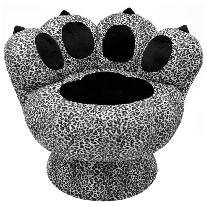 Paw Lounge Chair with Snow Leopard Prints