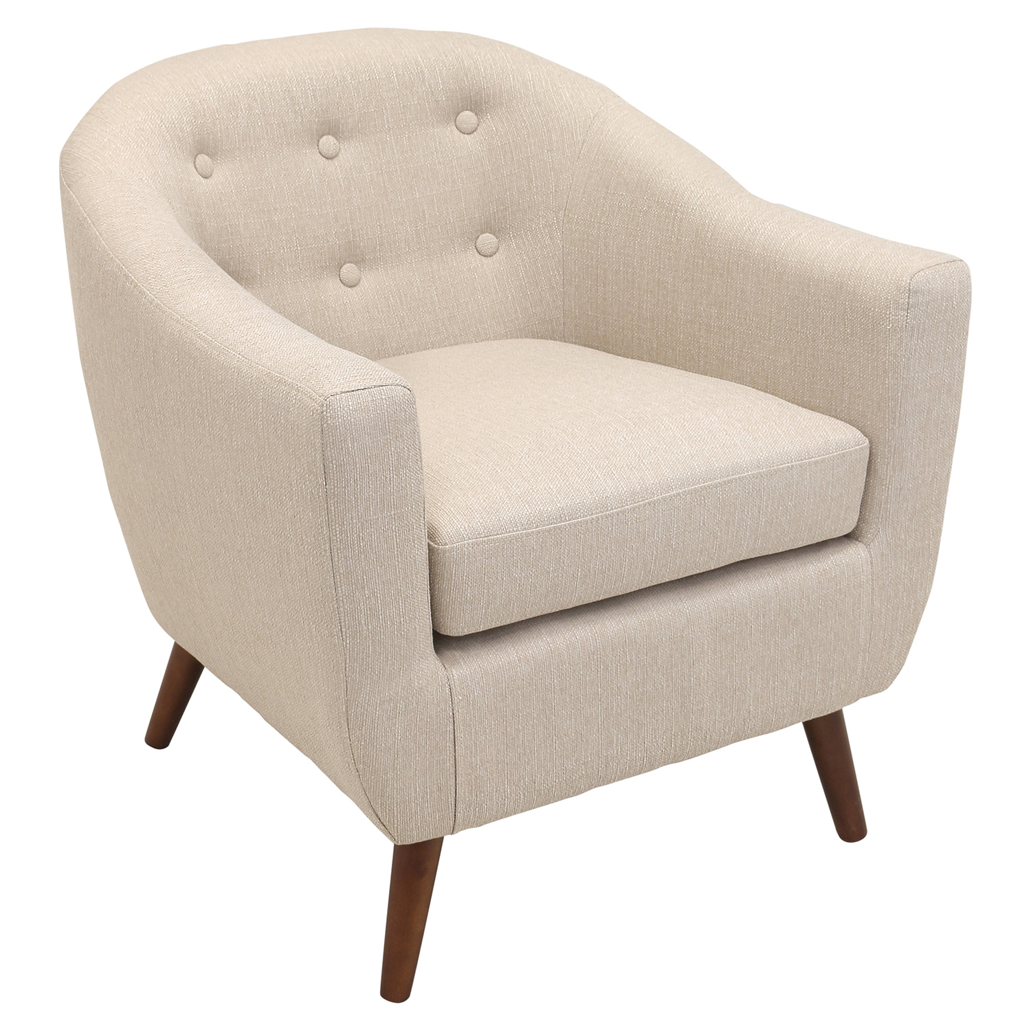 Rockwell Upholstery Armchair - Button Tufted, Cream - LMS-CHR-RKWL-CR