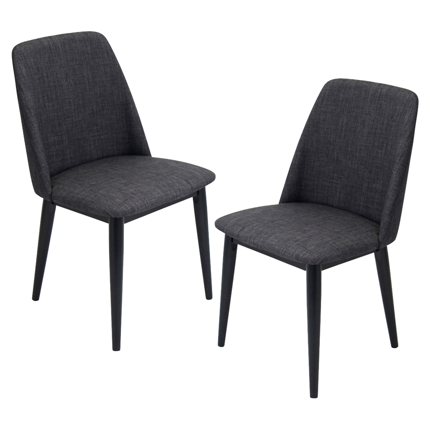 Tintori Upholstery Dining Chair - Charcoal, Black (Set of 2)