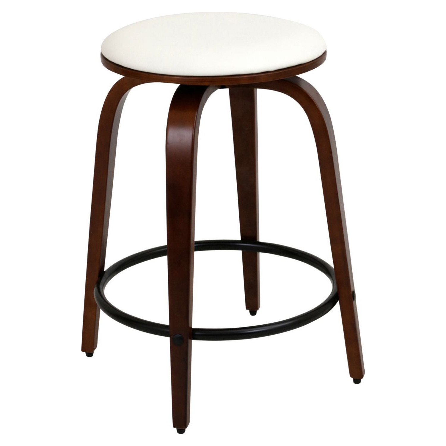 Porto Counter Stool - Swivel, Cherry, White (Set of 2) - LMS-CS-PRT-CH-W2
