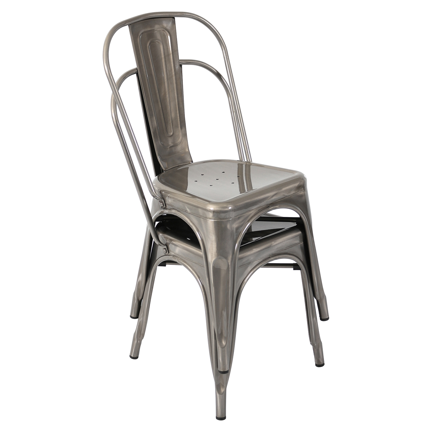 Oregon Stackable Dining Chair - Brushed Silver (Set of 2)