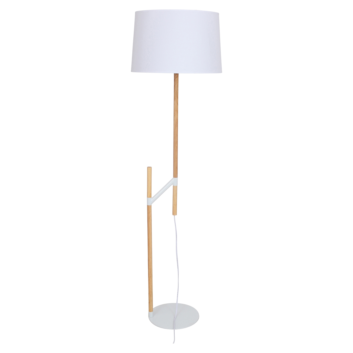Raised Floor Lamp - Medium Brown, White - LMS-LS-L-RSDFL-BN-W