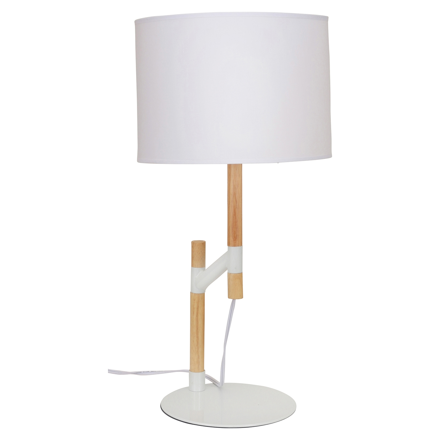 Raised Table Lamp - Medium Brown, White