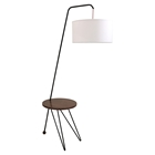 Stork Floor Lamp with Table Accent - Walnut, White