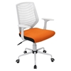 Network Height Adjustable Office Chair - Swivel, White, Orange