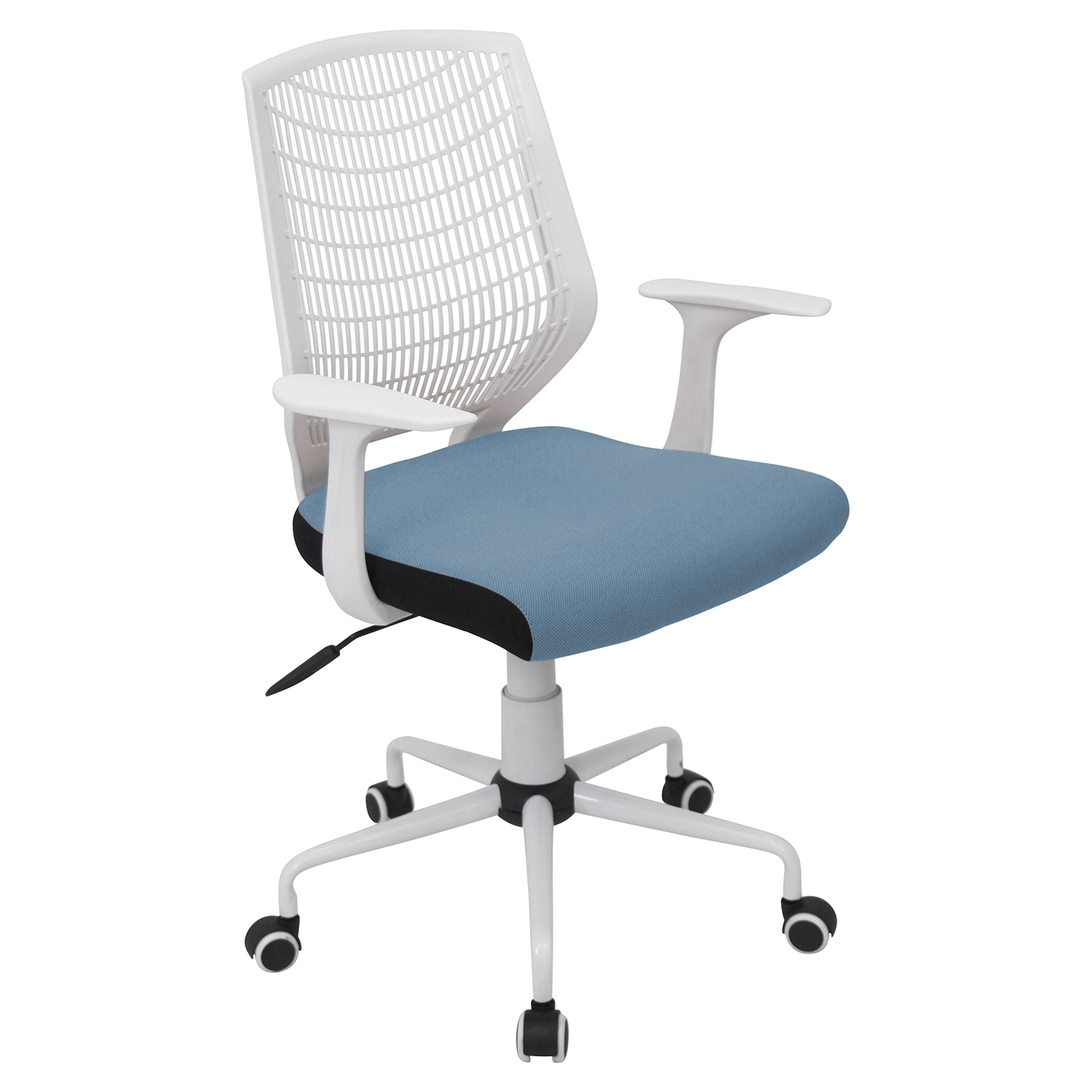 Network Height Adjustable Office Chair - Swivel, White, Smoked Blue