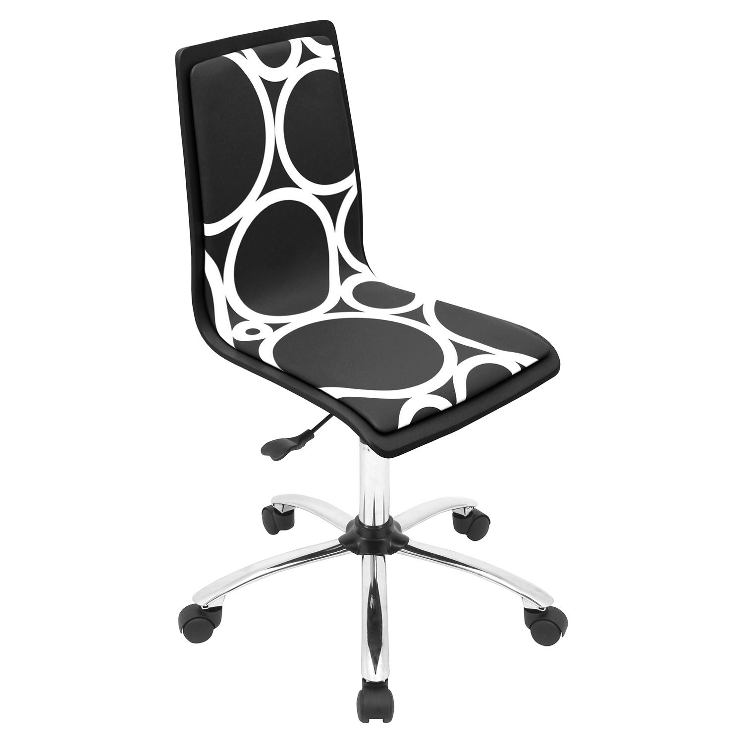 Printed Height Adjustable Office Chair - Swivel, Black Circles