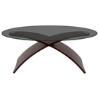 Criss Cross Oval Glass Top Coffee Table with Wooden Legs