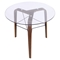 Trilogy Round Dining Table - Walnut Frame, Clear Glass - LMS-TB-TRILO-WL