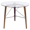 Trilogy Round Dining Table - Walnut Frame, Clear Glass