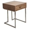Roman End Table - Walnut, Stainless Steel Silver