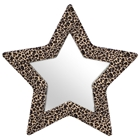 Star Shape Mirror with Furry Frame in Leopard Prints