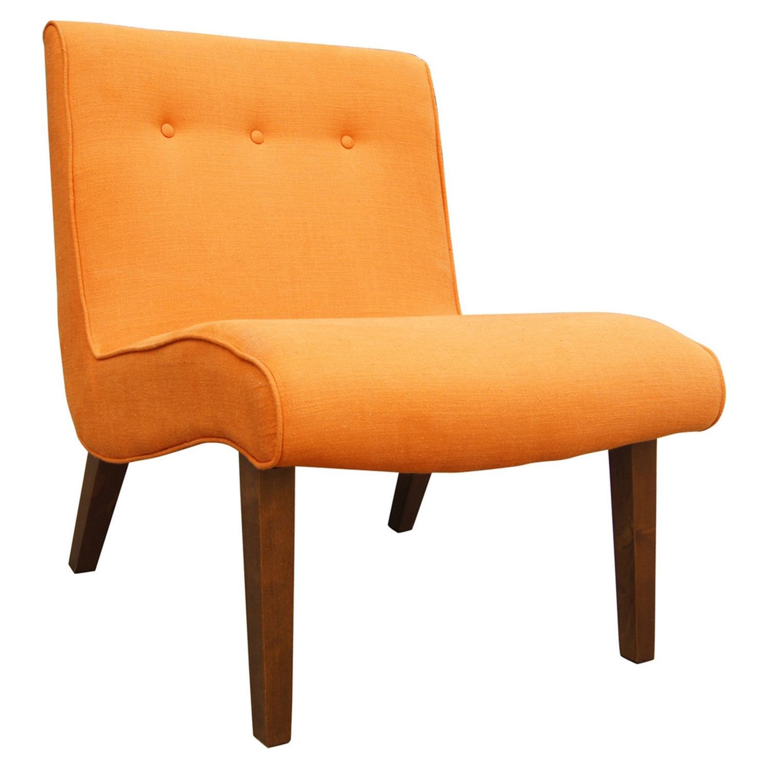 Mancini Lounge Chair - Button Tufted, Orange (Set of 2)