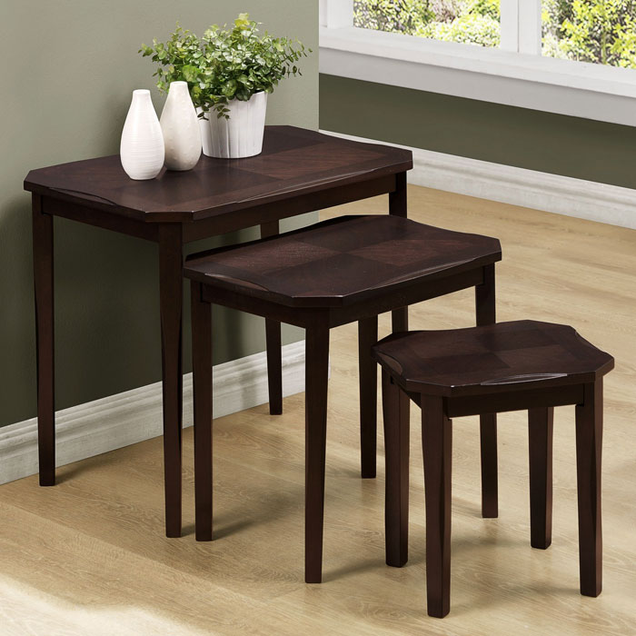 Diligence 3 Piece Nesting Tables Set - Cappuccino Finish