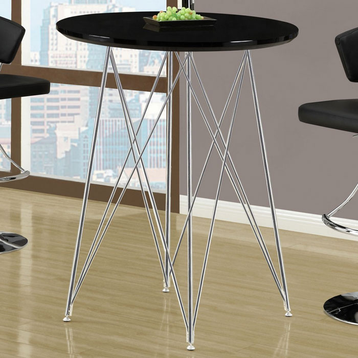 Blithe Round Top Bar Table - Chrome Base, Glossy Black