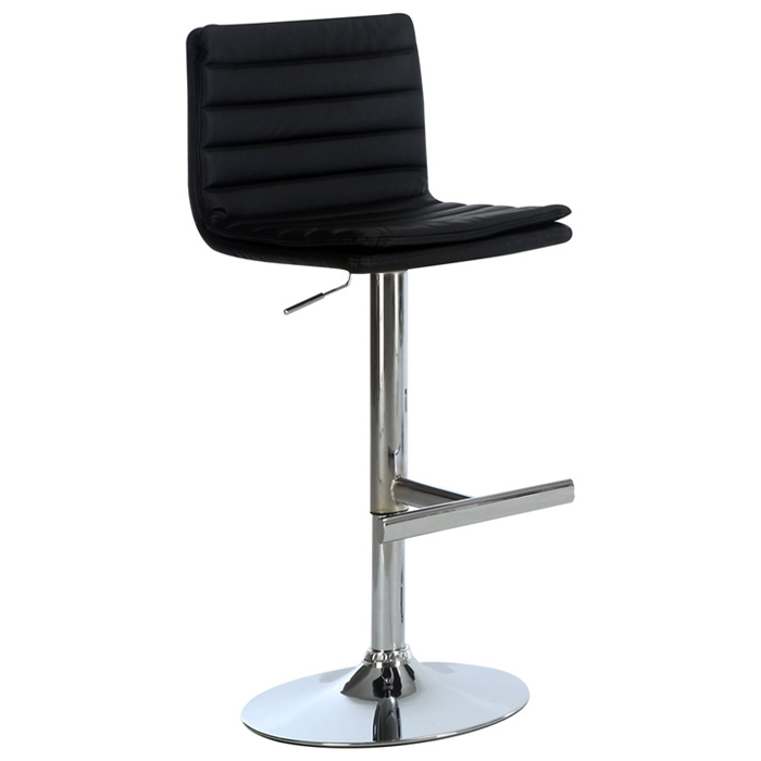 Cosmos Adjustable Bar Stool - Ribbed Seat & Back, Black (Set of 2)