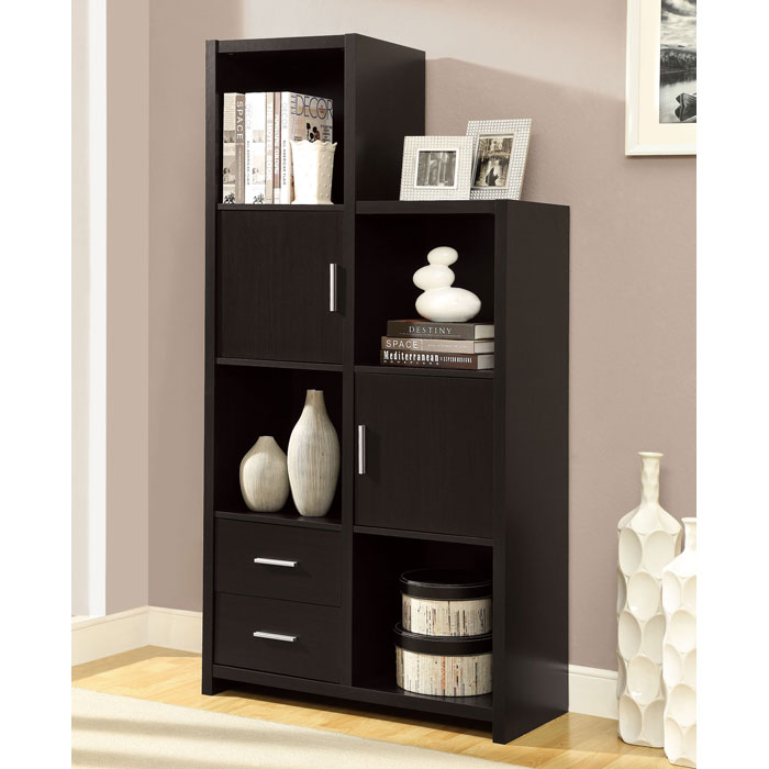 Dulcet Tall Storage Unit - Open Shelves, Drawers, Cappuccino