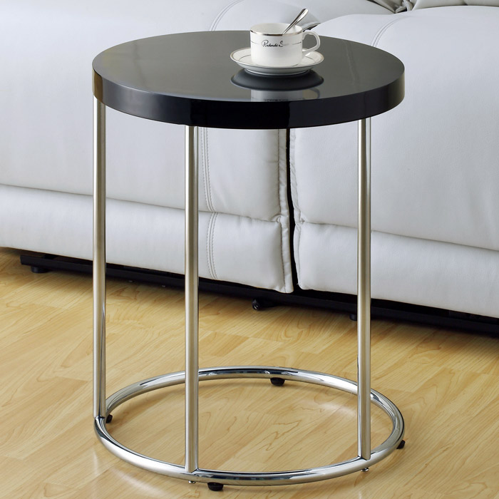 Serafine End Table - Chrome Base, Glossy Black Round Top