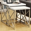 Martell 2 Piece Nesting Tables Set - Glossy White, X Design Sides
