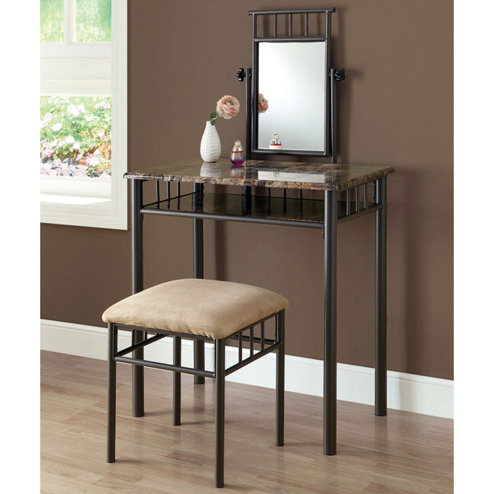 Illusion Vanity Table and Stool Set - Mirror, Bronze Finish, Metal