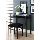 Illusion Vanity Table and Stool Set - Black Chenille Seat
