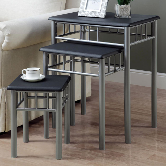 Infinity Nesting Tables Set - Black Top, Silver Metal