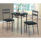 Infinity 3 Piece Bistro Set - Black, Dark Silver Metal