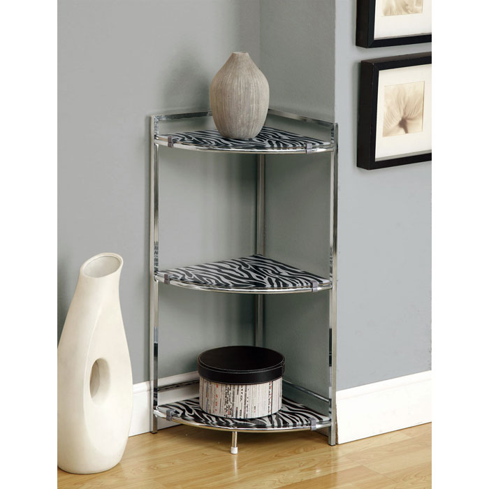 Prominence 3-Tier Corner Display Shelf - Zebra Patterned Glass - MNRH-I-3126